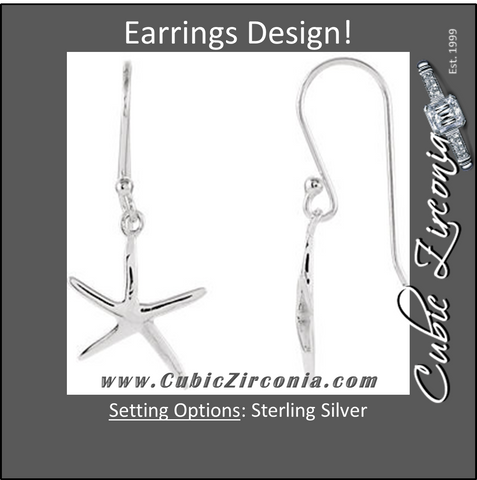 Earrings- Sterling Silver Plain Metal Starfish-Inspired Design Earring Set