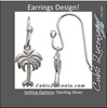 Cubic Zirconia Earrings- Sterling Silver Palm Tree 3-D Design with Ribbed Metal Earring Set