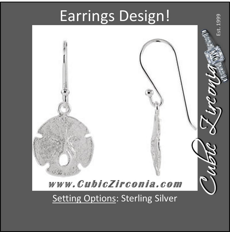Cubic Zirconia Earrings- Sterling Silver Sand Dollar Style with Brushed Metal Earring Set