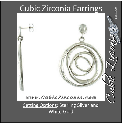 Cubic Zirconia Earrings- 0.40 Carat Concentric Circle Dangle Earring Set