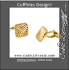 Men's Cufflinks- 14k Yellow Gold Ribbed Square Shaped