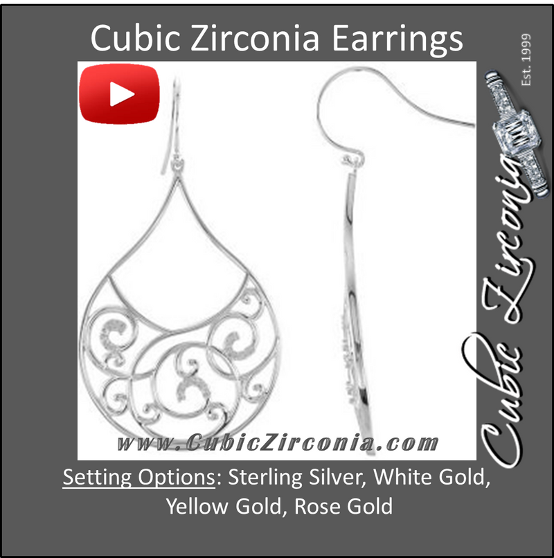 Cubic Zirconia Earrings- 0.26 Carat Round Cut Tear-drop Dangle Earring Set