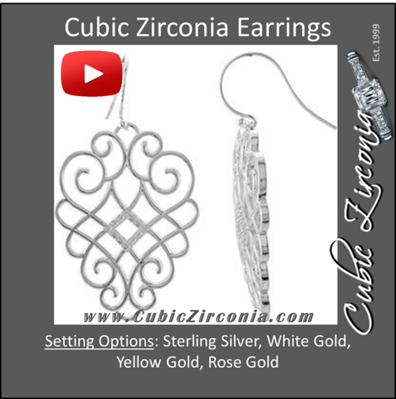 Cubic Zirconia Earrings- 0.25 Carat Diamond-Shaped Round Cut Dangle Earring Set