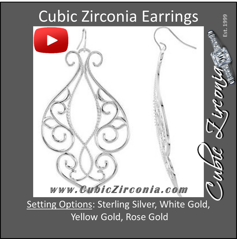 Cubic Zirconia Earrings- 0.28 Carat Scroll Pattern Dangle Earring Set