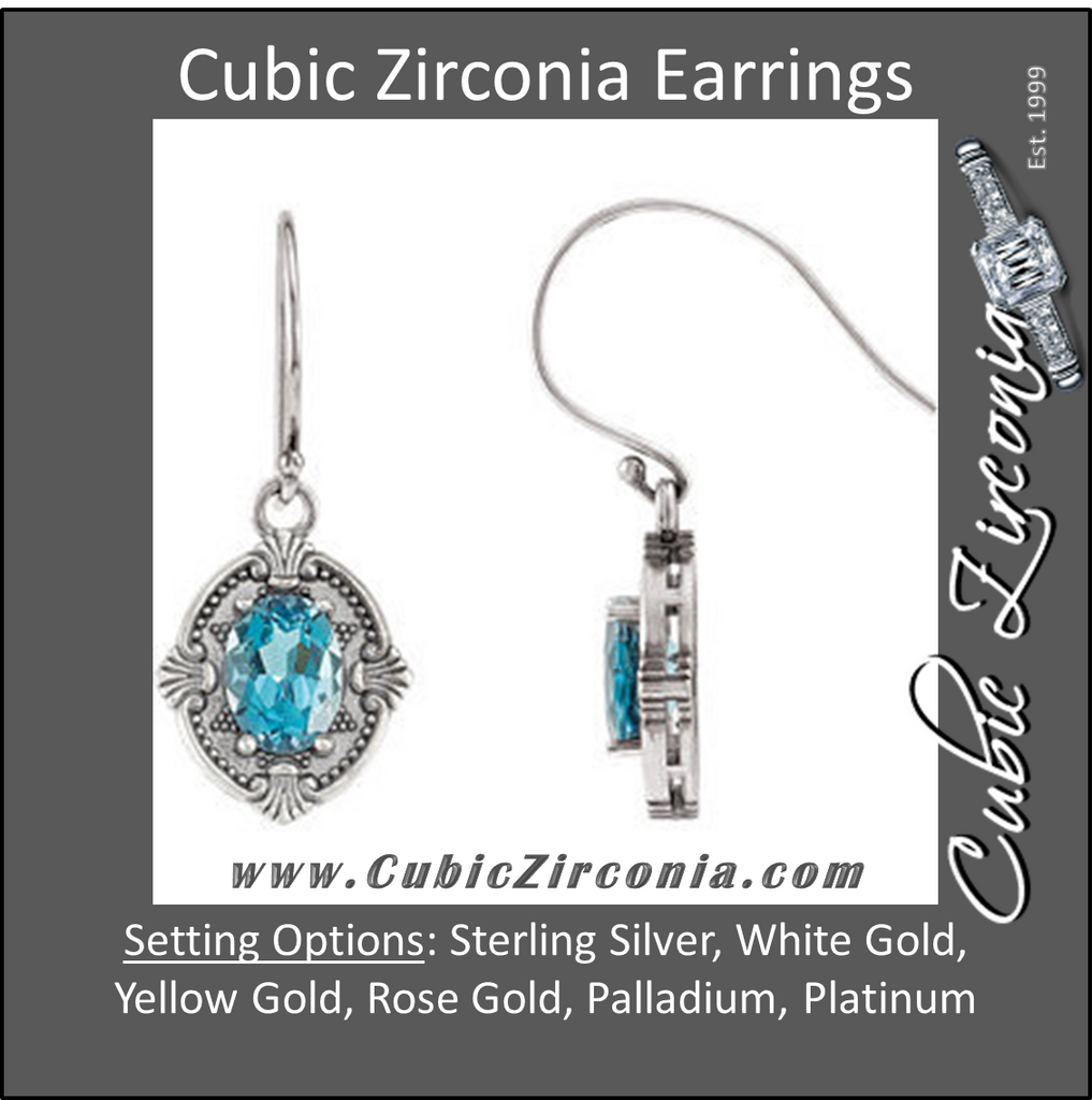 Cubic Zirconia Earrings- Victorian Style for Oval Stone
