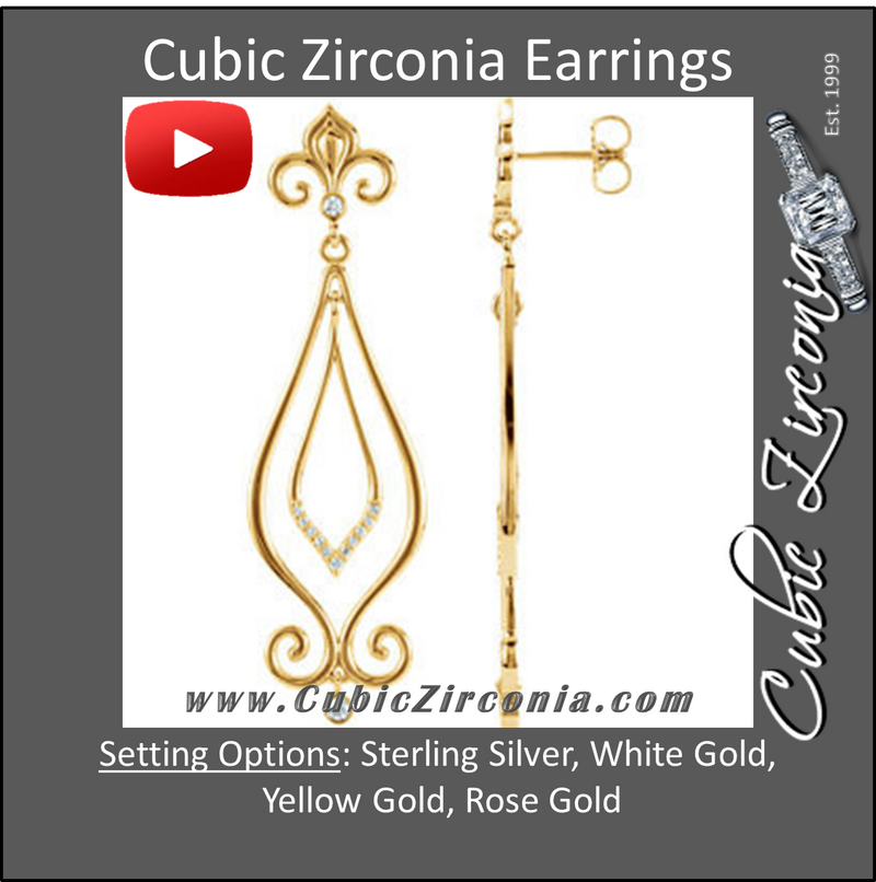 Cubic Zirconia Earrings- 0.20 Carat Fleur De Lis Inspired Decorative Drops Dangle Earring Set