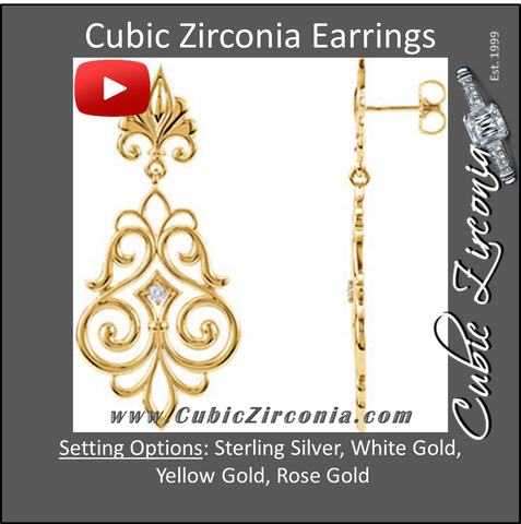 Cubic Zirconia Earrings- 0.06 Carat Fleur De Lis Inspired Drop Dangle Earring Set