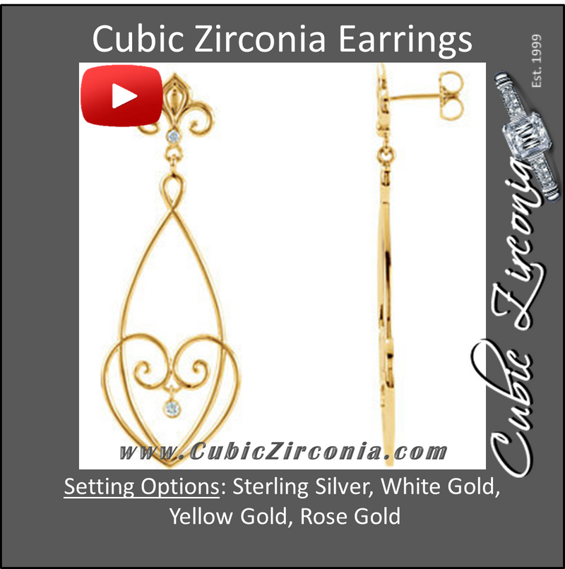 Cubic Zirconia Earrings- 0.08 Carat Heart & Fleur-de-Lis Motif 4-Stone Drop Dangles Earring Set