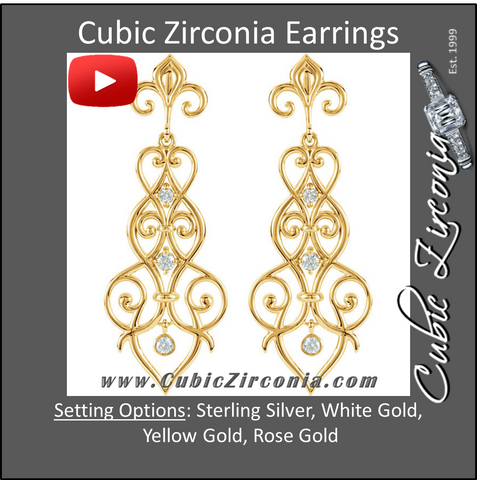 Cubic Zirconia Earrings- 0.30 Carat Fleur-de-Lis Inspired Dangle CZ Bezel Earring Set