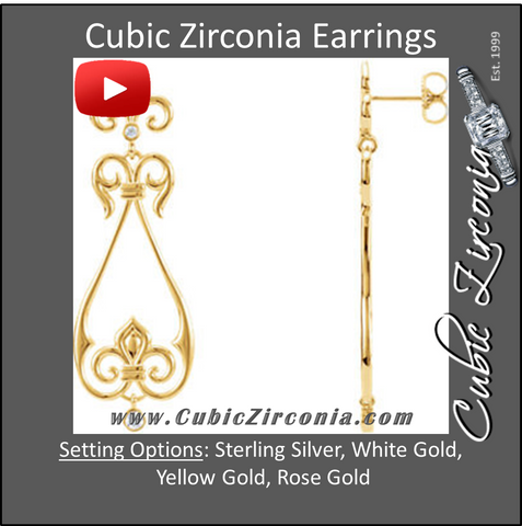 Cubic Zirconia Earrings- 0.16 Carat 4-Stone Fleur-De-Lis Scroll Dangle Drops Earring Set