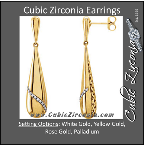 Cubic Zirconia Earrings- 0.12 Carat Teardrop-Shaped Dangles Featuring Gemstone Ribbon Earring Set
