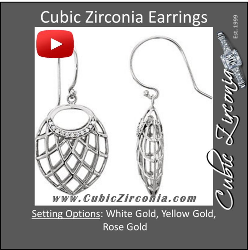 Cubic Zirconia Earrings- 0.06 Carat Nest-Design Dangle Earring Set