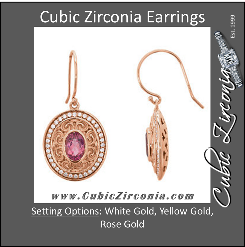 Cubic Zirconia Earrings- 2.36 Carat Oval Halo Hand-Engraved Scroll Design Drop Dangles Earring Set