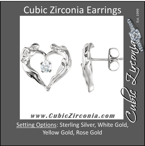 Cubic Zirconia Earrings- 0.28 Carat CZ Universal Love® Solitaire Heart Design Stud Earring Set