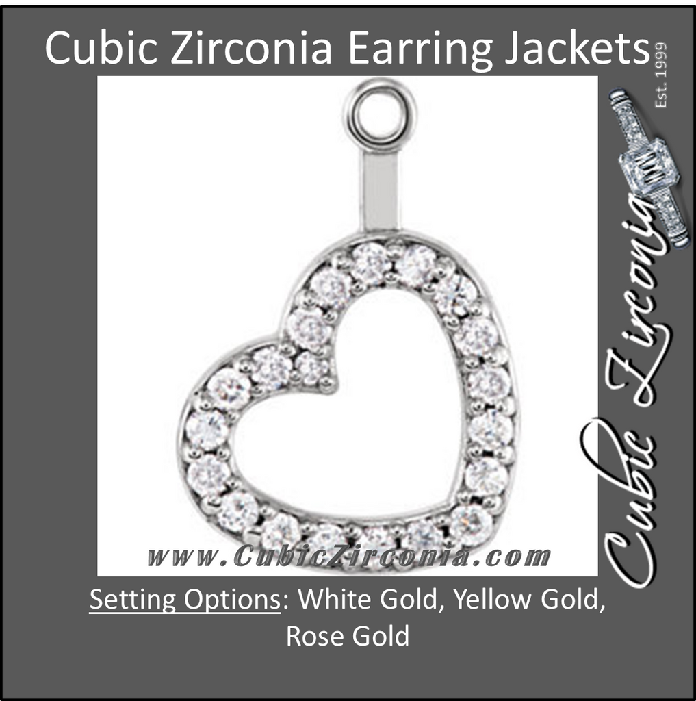 Cubic Zirconia Earrings- 1/5 CTW Heart Jackets