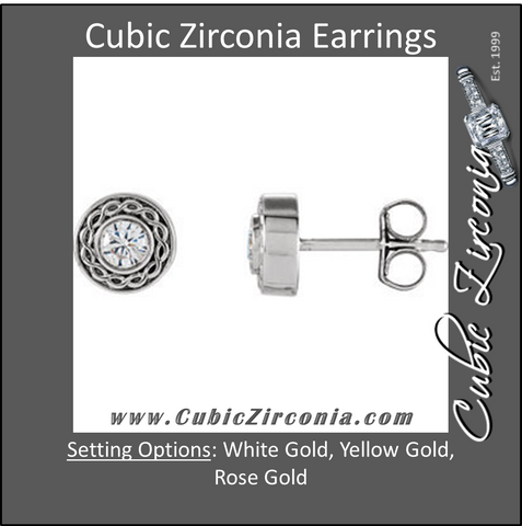 Cubic Zirconia Earrings- 0.20 Carat Round Cut Bezel Set Hand-Engraved Solitaire Studs Earring Set