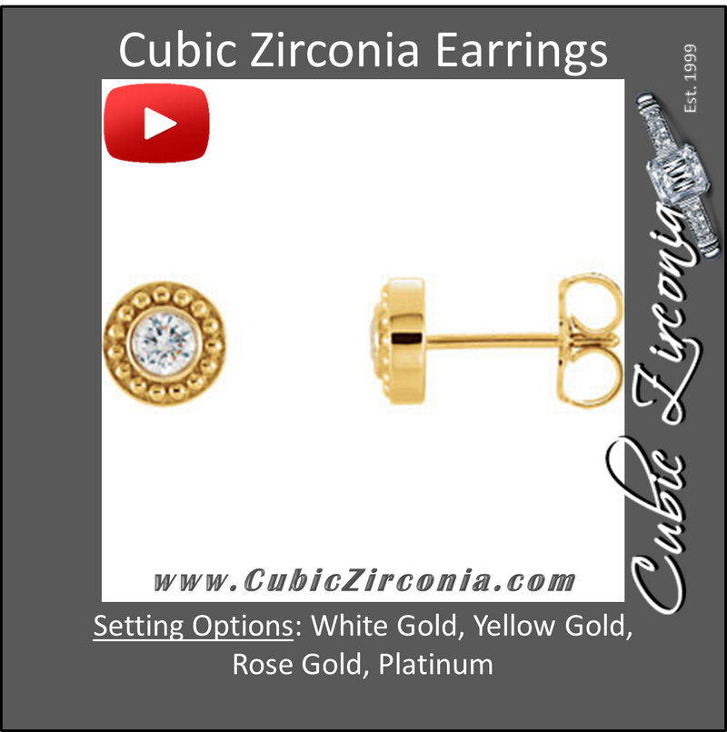 "Cubic Zirconia Earrings- 0.20 Carat Round Cut ""Beaded Halo"" Solitaire Stud Earring Set"