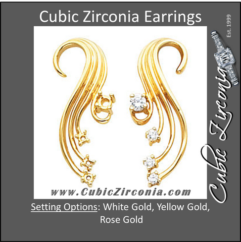 Cubic Zirconia Earrings- 0.38 Carat Swirl Inspired Drop Earring Set