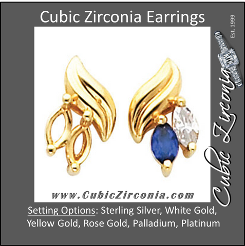 Cubic Zirconia Earrings- Marquise Center