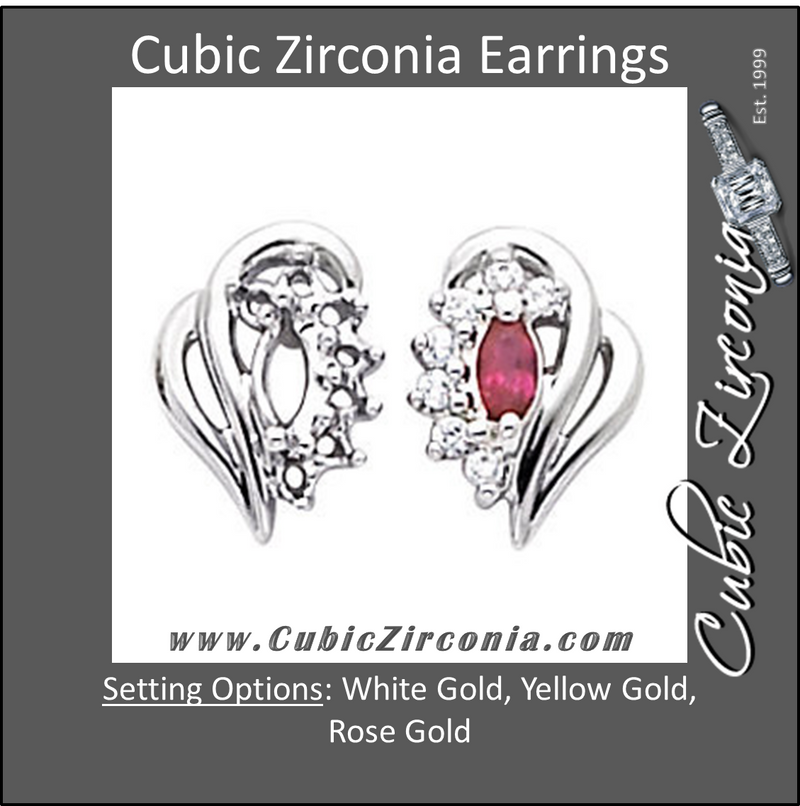 Cubic Zirconia Earrings- 0.57 Carat Folded Heart Marquise Earring Set