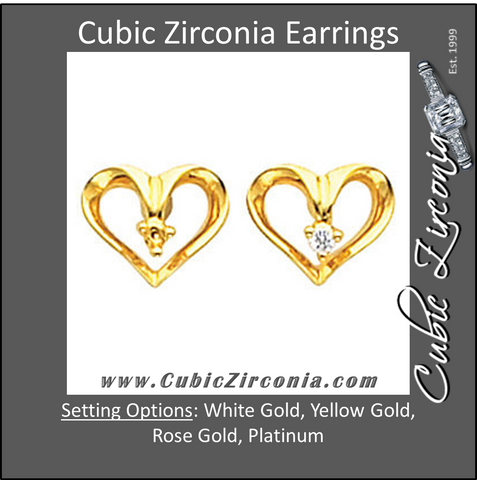 Cubic Zirconia Earrings- 0.03 Carat Heart Inspired Round Cut Prong Earring Set