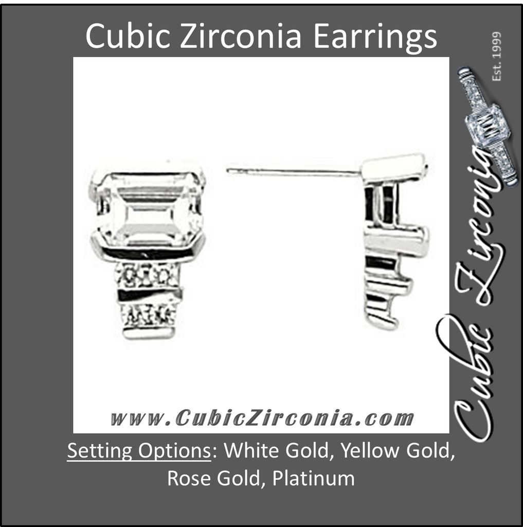 Cubic Zirconia Earrings- Octagon Style Emerald Cut