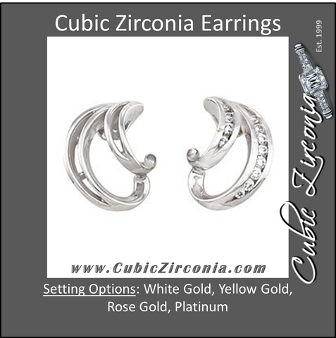 Cubic Zirconia Earrings- 0.14 Carat Wing Inspired Round Cut Earring Set