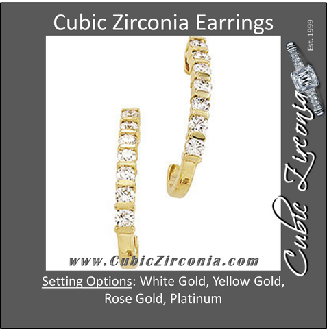 Cubic Zirconia Earrings- 0.56 Carat Round Cut Square Channel J-Hoop Dangle Earring Set
