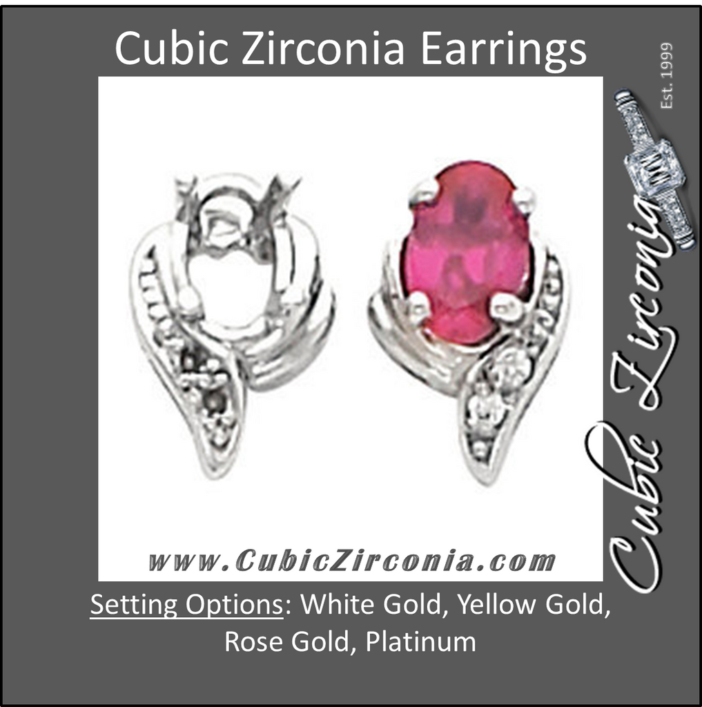 Cubic Zirconia Earrings- 1.0 Carat Oval and Prong Set
