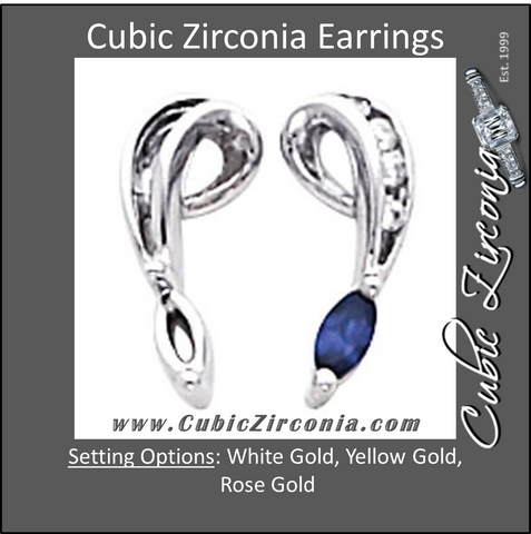 Cubic Zirconia Earrings- 0.22 Carat Vintage 5-Stone Dangles with Marquise Center Earring Set