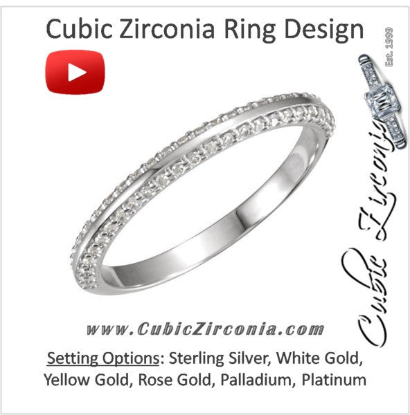 Cubic Zirconia Anniversary Ring Band, Style 121-811 Round Pave (0.25 TCW)