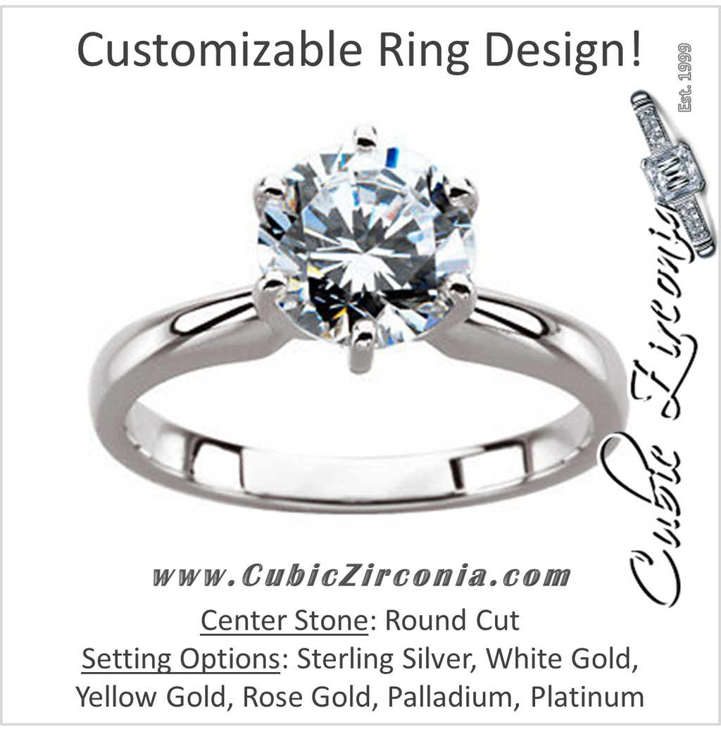 Cubic Zirconia Engagement Ring- A Round Cut Solitaire with Straight Edge Prongs