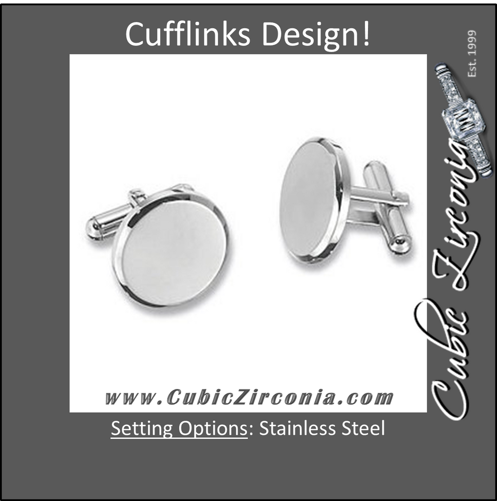 Men's Cufflinks- Stainless Steel Round Design (Classic Engravable Style)