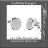 Men's Cufflinks- Stainless Steel Oval Design (Classic Engravable Style)
