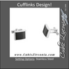 Men's Cufflinks- Rectangular Shape Stainless Steel with Black Carbon Fiber