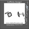 Men's Cufflinks- Stainless Steel Rectangular Shape with Black Enamel Inlay and Textured Center