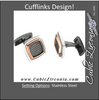 Men's Cufflinks- Stainless Steel with Textured Black Enamel Inlay and Rose Gold Immersion Plating