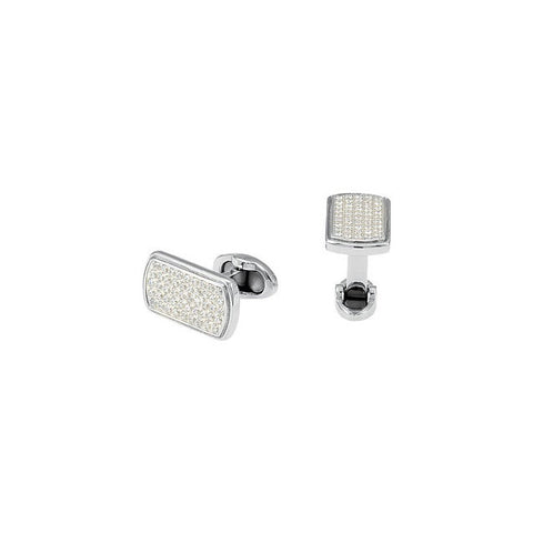 Men's Cufflinks- Stainless Steel with Cubic Zirconia