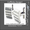 Men's Cufflinks- Elongated Rectangle Titanium with Dual Satin & Polished Finish Stripes
