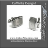 Men's Cufflinks- Brushed Metal Stainless Steel with Raised Center