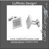 Men's Cufflinks- Stainless Steel Square with Cross-hatched Lines Design