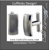 Men's Cufflinks- Titanium Rectangular with Beveled Metal