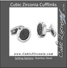 Men's Cufflinks- Black or Brown Ceramic Immersion Plating with CZ Accents