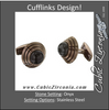 Men's Cufflinks- Stainless Steel with Brown Ceramic and Genuine Onyx