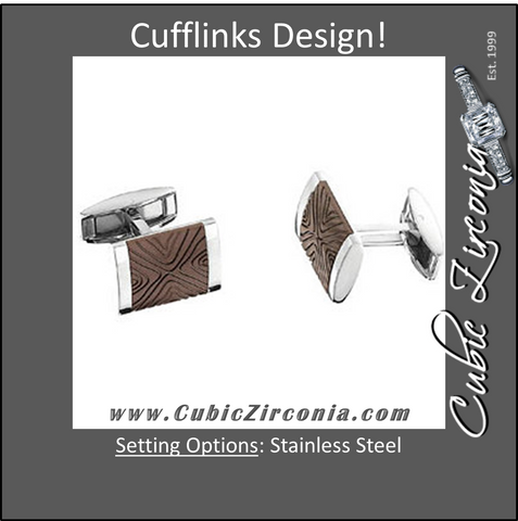 Men's Cufflinks- Wood Pattern Immerse Plated with Stainless Steel
