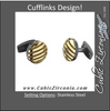 Men's Cufflinks- Stainless Steel with Yellow Gold Immerse Plating Stripes