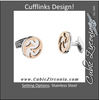 Men's Cufflinks- Stainless Steel with Immerse Plating and Wild Assymetrical Etching