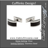 Men's Cufflinks- Stainless Steel with Curved Onyx Center Inlay