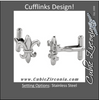 Men's Cufflinks- Stainless Steel Fleur-de-Lis Symbols