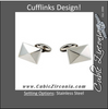 Men's Cufflinks- Stainless Steel 3D Quad Pyramid Design